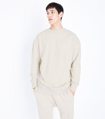 Cream Dropped Shoulder Crew Neck Jumper