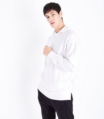Cream Dropped Shoulder Split Hem Hoodie