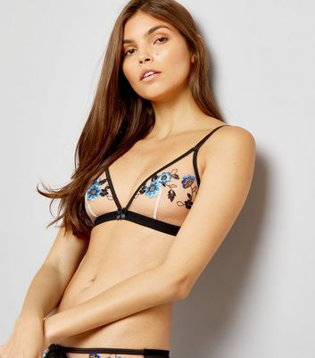 Blue Floral Embroidered Mesh Bralet