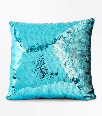 Blue Sequin Square Cushion