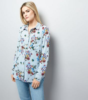 Cameo Rose Blue Stripe Floral Print Shirt