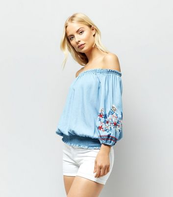 Blue Floral Embroidered Bardot Neck Top