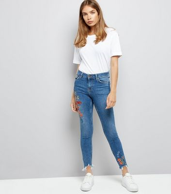 Blue Floral Embroidered Distressed Hem Skinny Jenna Jeans
