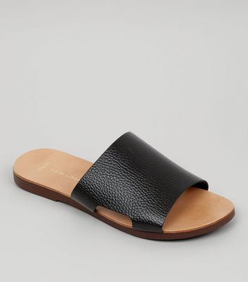 Wide Fit - Mules noires en cuir
