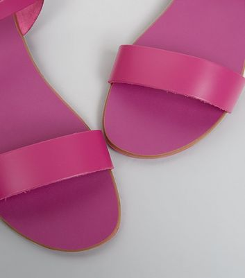 Wide Fit Pink Leather Ankle Strap Sandals