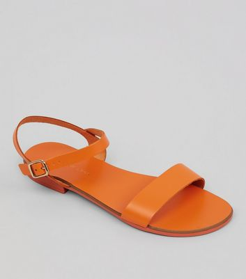 Wide Fit Orange Leather Ankle Strap Sandals