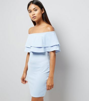 Petite Pale Blue Brill Trim Bardot Bodycon Dress