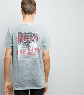 Grey Acid Wash Printed T-Shirt