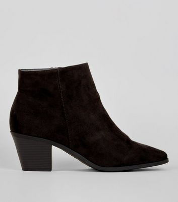 Wide Fit Black Suedette Western Ankle Boots