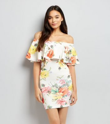 White Floral Print Bardot Bodycon Dress
