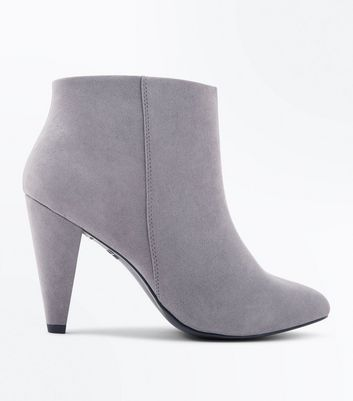 Wide Fit Grey Suedette Cone Heel Shoe Boots