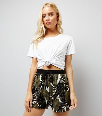 Khaki Palm Print Shorts