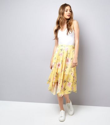 Yellow Floral Print Hanky Hem Skirt