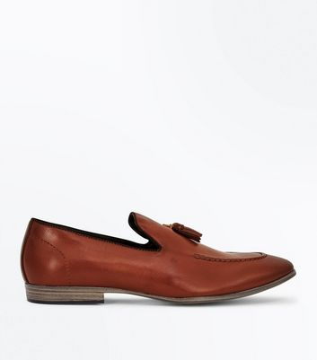 Tan Leather Look Tassel Loafers