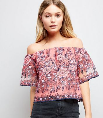 Pink Floral Embroidered Mesh Bardot Neck Top