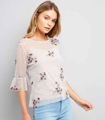 Cream Floral Embroidered Spot Mesh Bell Sleeve Top