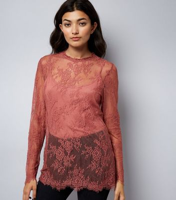 Coral Lace Long Sleeve Top