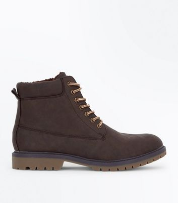 Dark Brown Faux Shearling Lined Worker Boots
