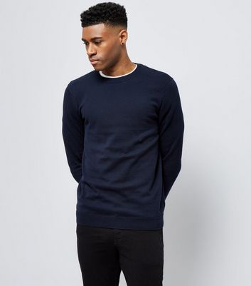 Navy Cotton Crew Neck Jumper