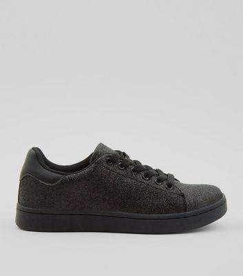 Teens Black Glitter Trainers