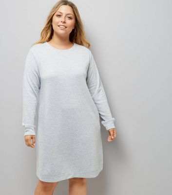 Curves Grey Longline Sweater Dress