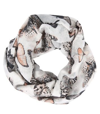 Grey Butterfly Print Snood