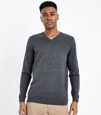 Dark Grey Cotton V Neck Jumper