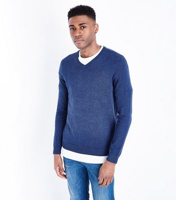 Blue Cotton V Neck Jumper