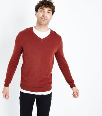 Orange Cotton V Neck Jumper