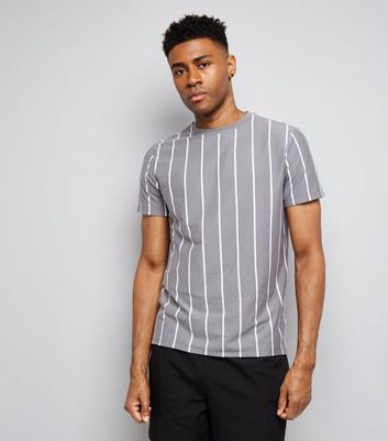 Pale Grey Pinstripe Print T-Shirt