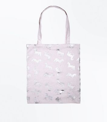 Pink Metallic Unicorn Canvas Bag