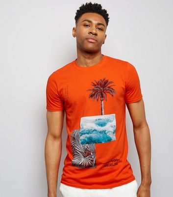 Orange Palm Tree Print T-Shirt