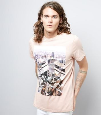 Shell Pink New York Print T-Shirt