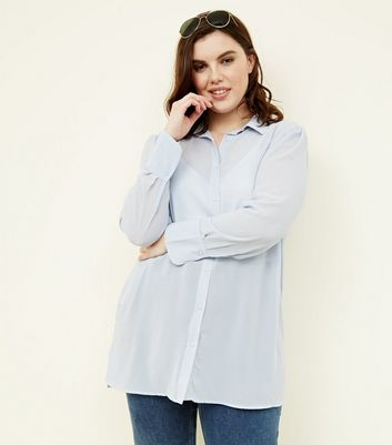 Curves Pale Blue Chiffon Longline Shirt