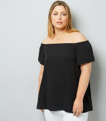 Curves Black Crepe Bardot Neck Top