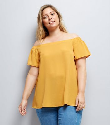 Curves Yellow Crepe Bardot Neck Top