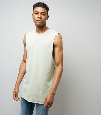 Light Green Acid Washed Spliced Neck Tank Top