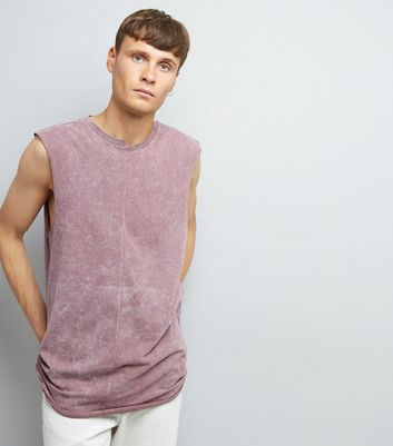 Pink Acid Washed Spliced Neck Tank Top