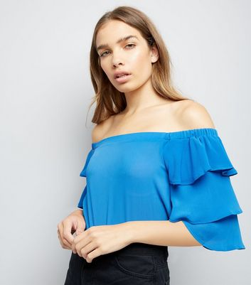 Tall Blue Tiered Sleeve Bardot Neck Top