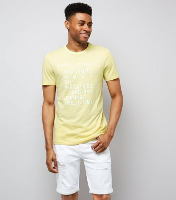 Yellow Off Limits Print T-Shirt
