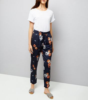 Blue Sateen Floral Print Joggers