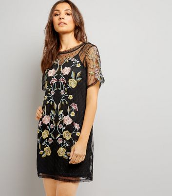 Black Spot Mesh Floral Embroiderd Tunic Dress