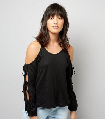 Black Tie Sleeve Top Cold Shoulder Top