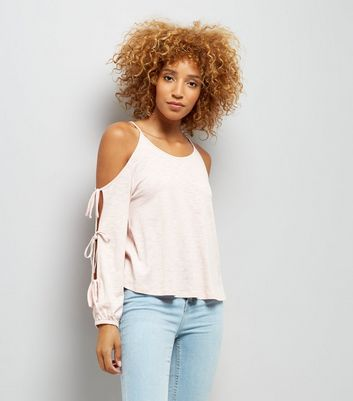 Pink Cold Sholder Tie Sleeve Top