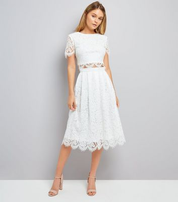 Cream Lace Scallop Hem Midi Skirt