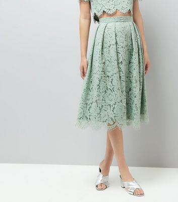Mint Green Lace Scallop Hem Midi Skirt