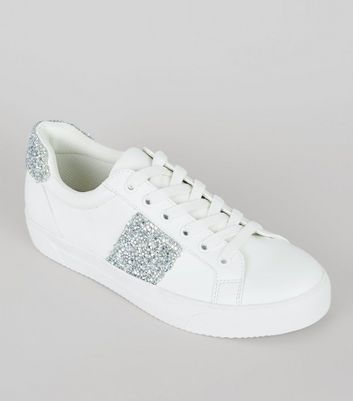 White Diamante Panel Lace Up Trainers