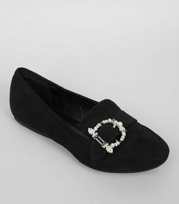 Black Suedette Embroidered Buckle Loafers
