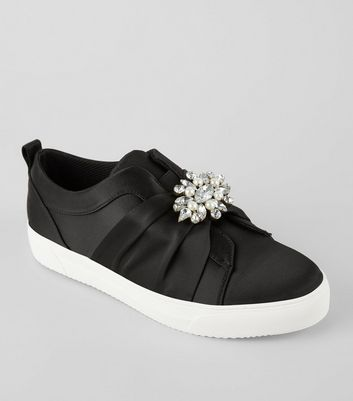 Black Satin Embellished Slip On Plimsolls