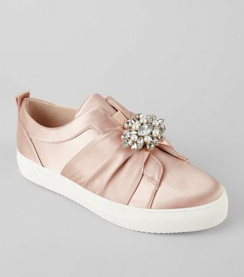 Pink Satin Embellished Slip On Plimsolls